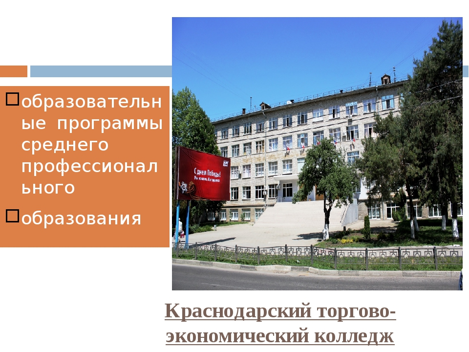 Краснодарский торгово-экономический колледж образовательные программы среднег...