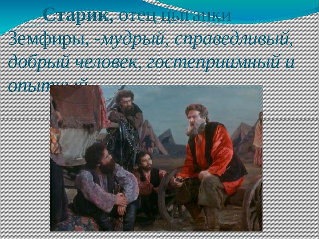 Старик, отец цыганки Земфиры, -мудрый, справедливый, добрый человек, гостепр...