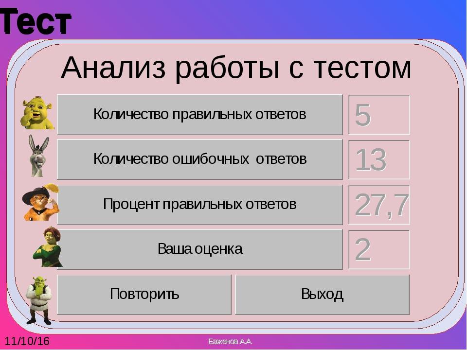 Тест  Тест  Анализ работы с тестом