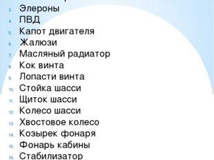 Спецификация Фюзеляж Консоль крыла Элероны ПВД Капот двигателя Жалюзи Масляны