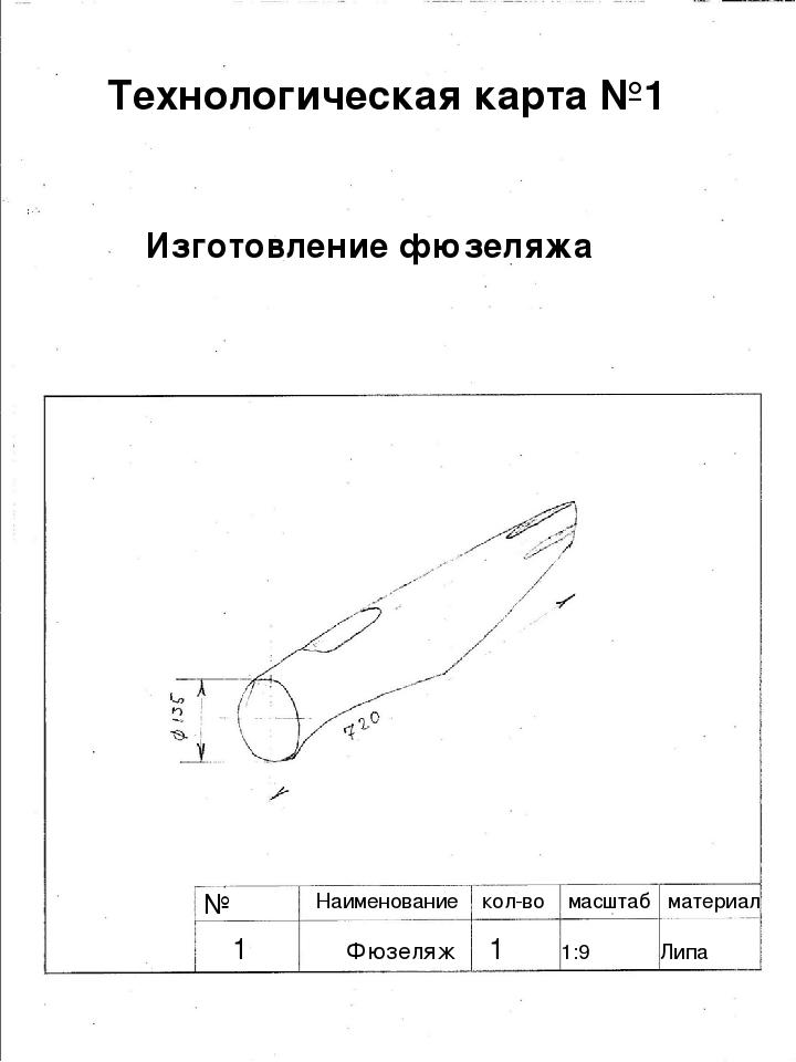 № Технологическая карта №1 Изготовление фюзеляжа Наименование кол-во масштаб...