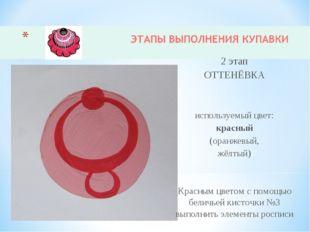 2 этап ОТТЕНЁВКА используемый цвет: красный (оранжевый, жёлтый) Красным цвето
