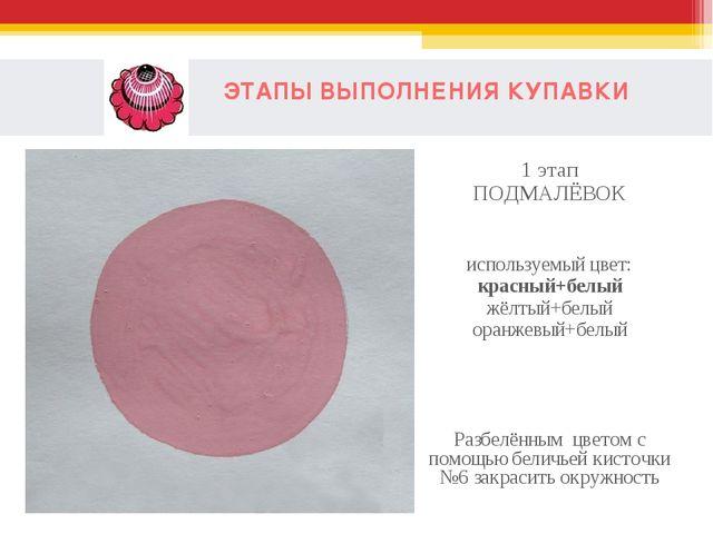 ЭТАПЫ ВЫПОЛНЕНИЯ КУПАВКИ 1 этап ПОДМАЛЁВОК используемый цвет: красный+белый...