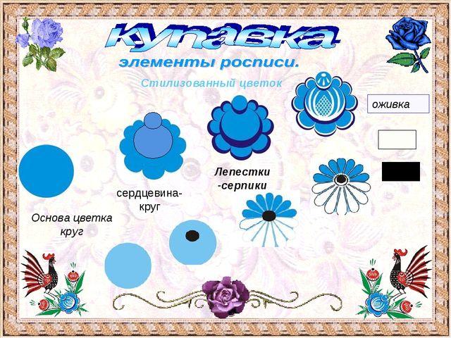 оживка Стилизованный цветок Основа цветка круг сердцевина- круг Лепестки -сер...