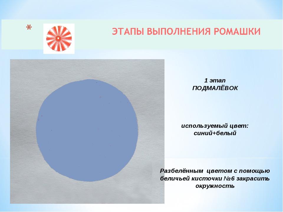 1 этап ПОДМАЛЁВОК используемый цвет: синий+белый Разбелённым цветом с помощью...