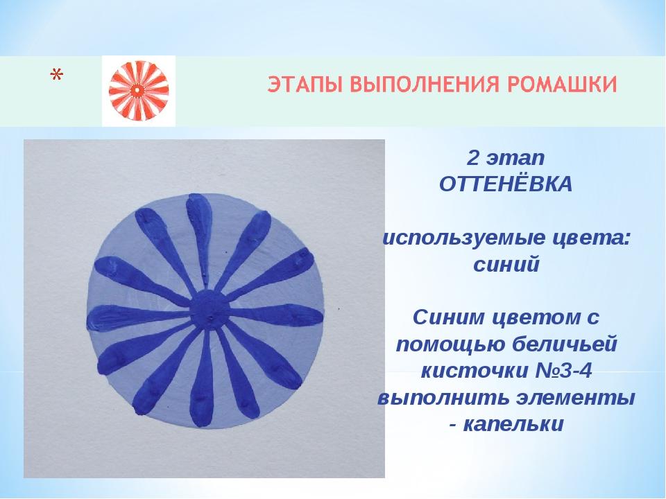 2 этап ОТТЕНЁВКА используемые цвета: синий Синим цветом с помощью беличьей ки...