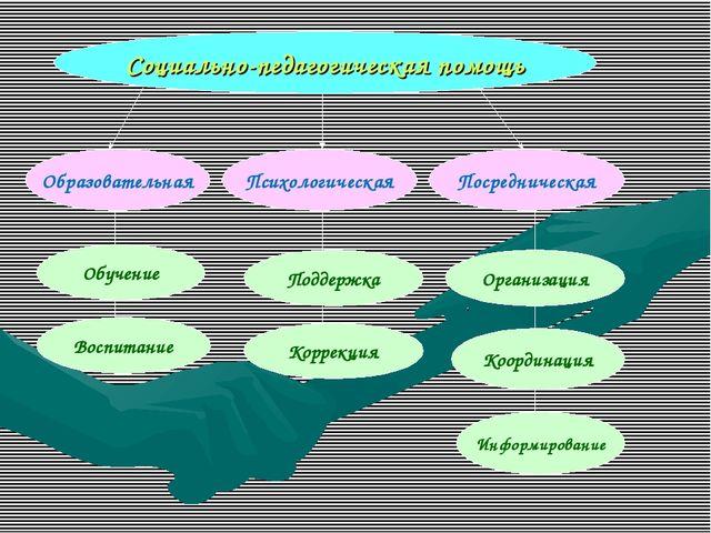 Социально-педагогическая помощь Образовательная Психологическая Посредническа...