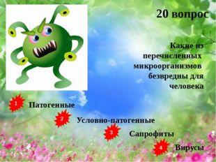 1 2 3 4 Патогенные Условно-патогенные Сапрофиты Вирусы 20 вопрос Какие из пер