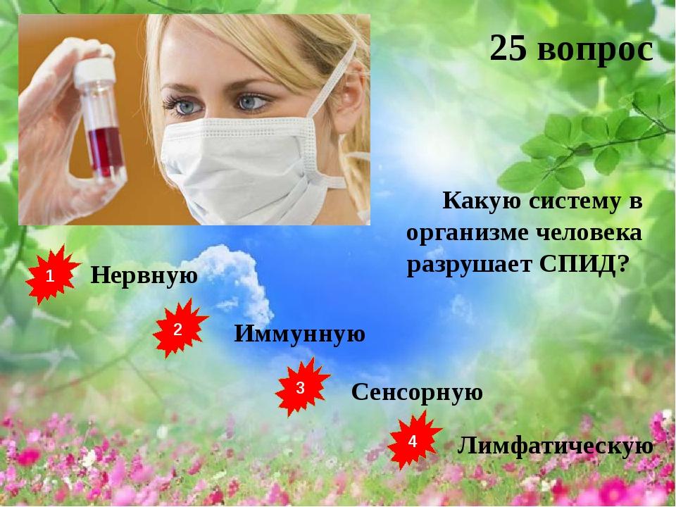 1 2 3 4 Нервную Иммунную Сенсорную Лимфатическую 25 вопрос Какую систему в ор...