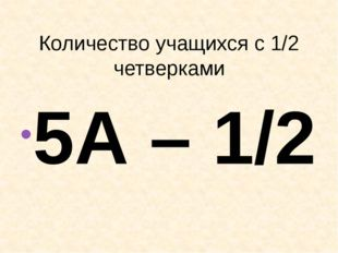 Количество учащихся с 1/2 четверками 5А – 1/2 8А – 0/0 5Б – 0/0 8Б –0/0 6А –