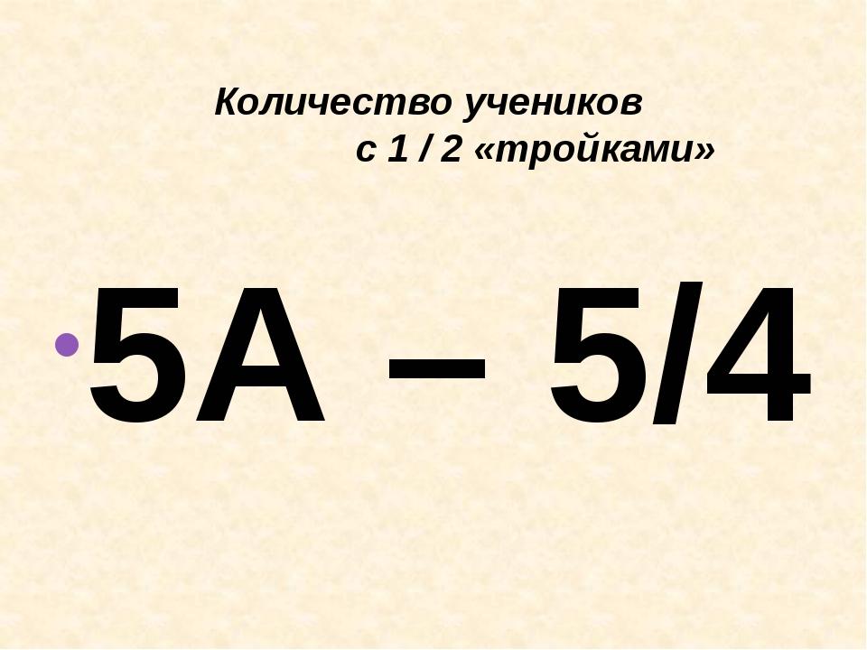 Количество учеников с 1 / 2 «тройками» 5А – 5/4 8А – 2/3 5Б – 7/6 8Б – 1/0 6...