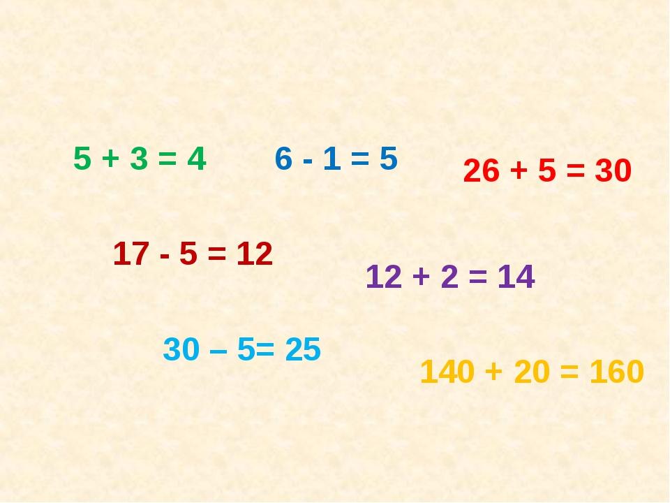 5 + 3 = 4 17 - 5 = 12 6 - 1 = 5 26 + 5 = 30 12 + 2 = 14 30 – 5= 25 140 + 20 =...