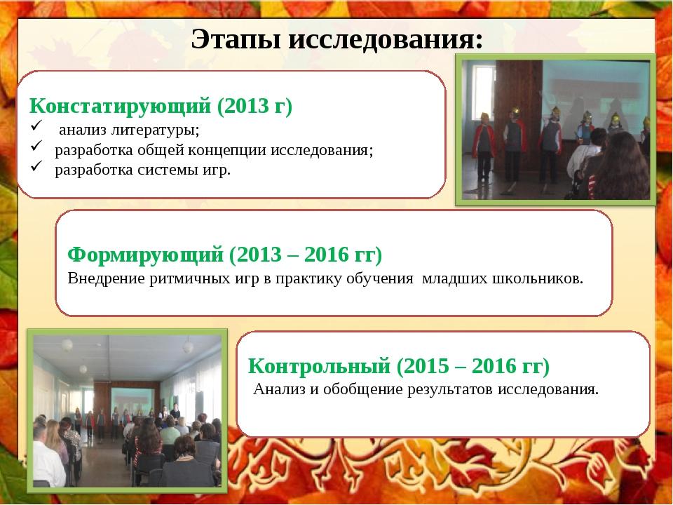 Этапы исследования: Формирующий (2013 – 2016 гг) Внедрение ритмичных игр в пр...