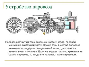 Устройство паровоза Паровоз состоит из трёх основных частей: котла, паровой м