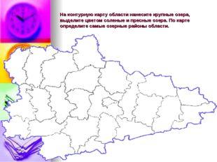 На контурную карту области нанесите крупные озера, выделите цветом соленые и