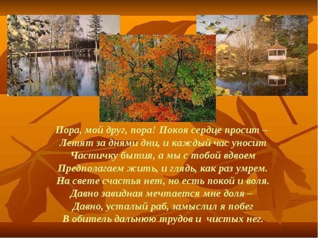 Пора, мой друг, пора! Покоя сердце просит – Летят за днями дни, и каждый час...
