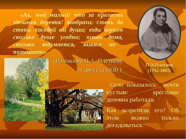 «Ах, мой милый! что за прелесть здешняя деревня! вообрази: степь да степь; с...