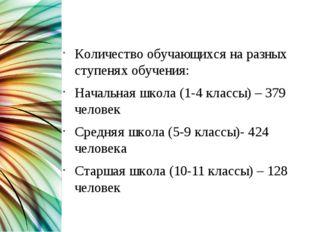 Общие сведения Количество обучающихся на разных ступенях обучения: Начальная