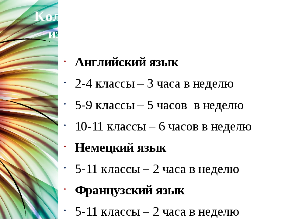 Количество часов, выделяемых на изучение иностранных языков Английский язык 2...