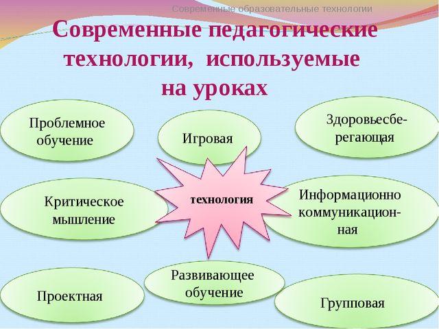 Современные педагогические технологии, используемые на уроках Современные обр...