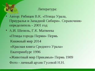 Литература: Автор: Рябицев В.К. «Птицы Урала, Приуралья и Западной Сибири». С