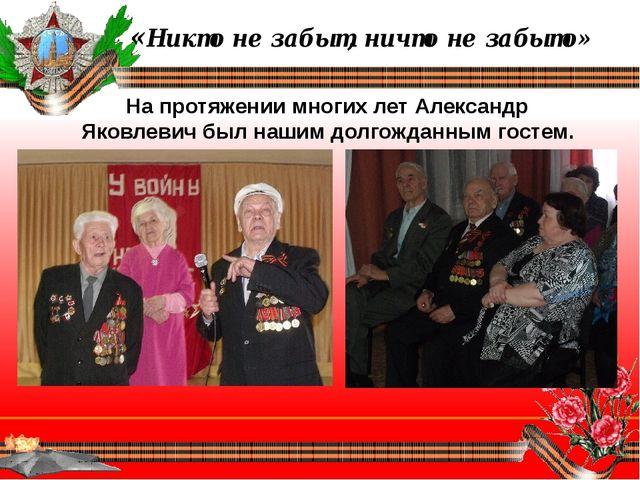«Никто не забыт, ничто не забыто» На протяжении многих лет Александр Яковлев...