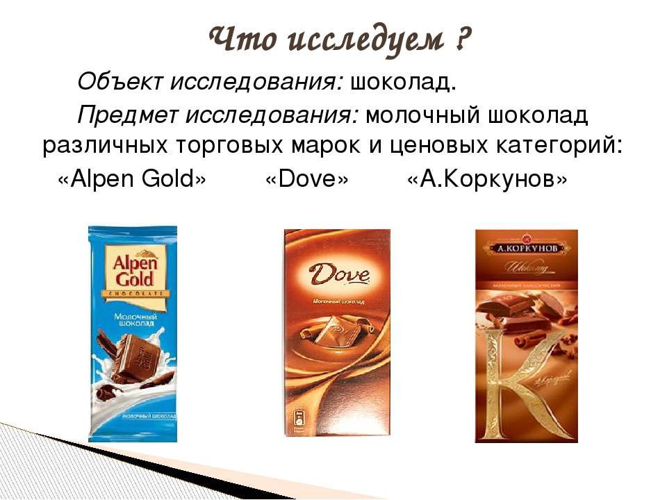 Объект исследования: шоколад. Предмет исследования: молочный шоколад различ...