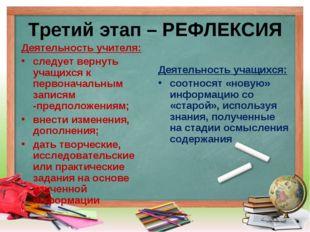 Третий этап – РЕФЛЕКСИЯ Деятельность учителя: следует вернуть учащихся к перв