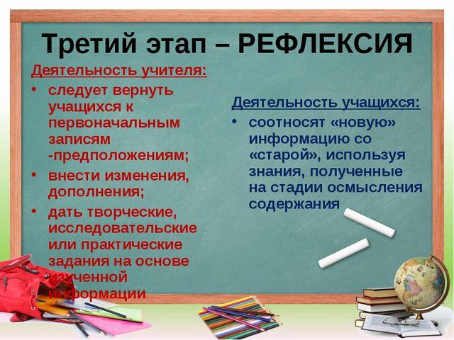 Третий этап – РЕФЛЕКСИЯ Деятельность учителя: следует вернуть учащихся к перв...