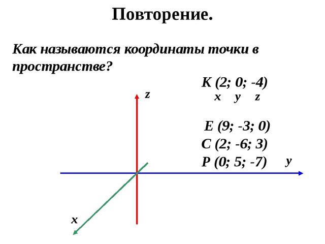 Повторение. Как называются координаты точки в пространстве? Р (0; 5; -7) К (2...