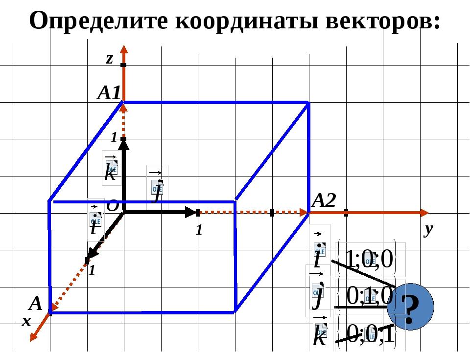 Определите координаты векторов: x y 1 1 1 О z А1 А2 А ?