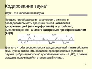 * Кодирование звука* Звук- это колебания воздуха Процесс преобразования анал