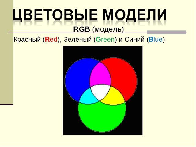RGB (модель) Красный (Red), Зеленый (Green) и Синий (Blue)