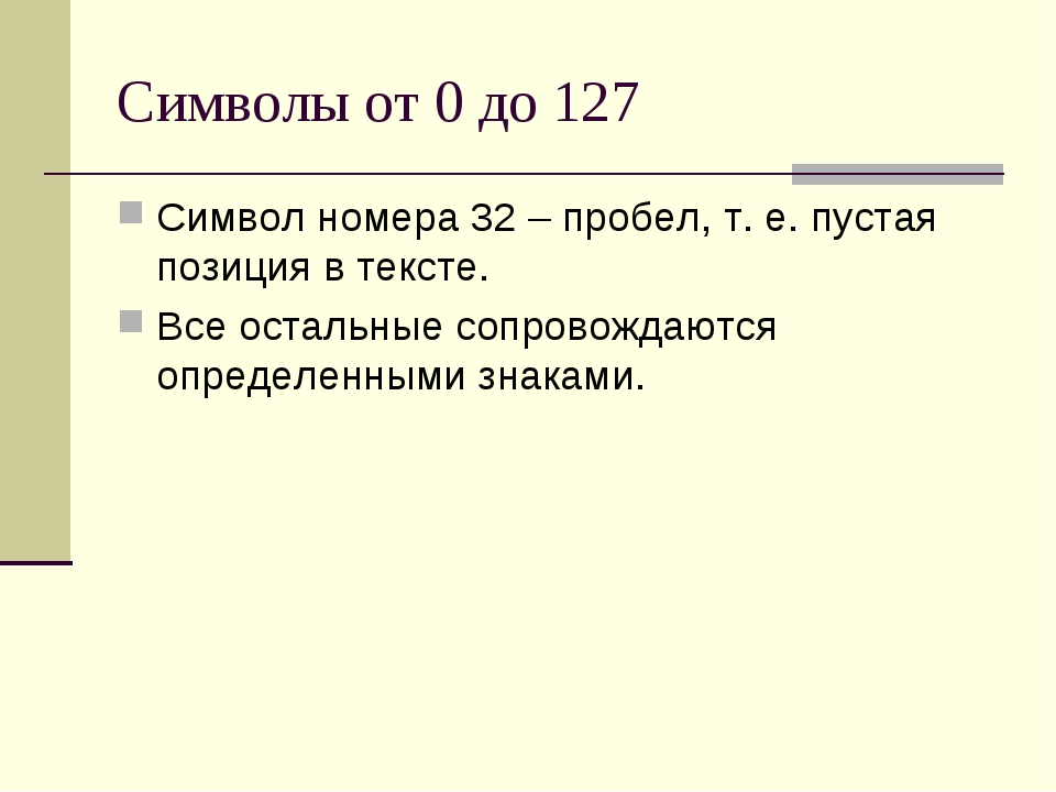Символы от 0 до 127 Символ номера 32 – пробел, т. е. пустая позиция в тексте....