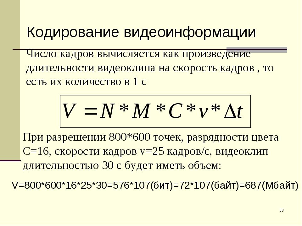 * Кодирование видеоинформации Число кадров вычисляется как произведение длите...