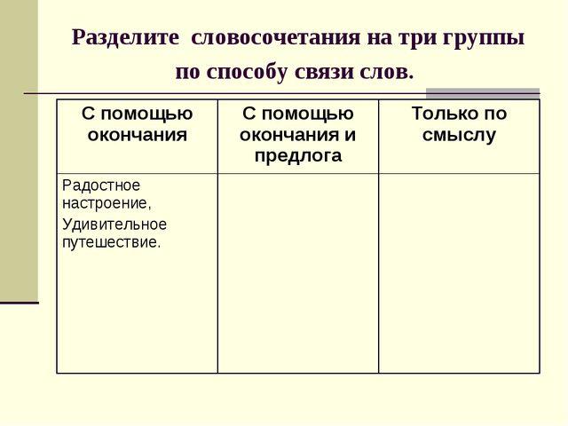 Разделите словосочетания на три группы по способу связи слов.