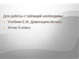 Для работы с таблицей необходимы: Учебник Е.М. Домогацких.6класс. Атлас 6 кла