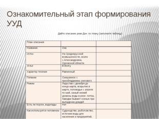 Ознакомительный этап формирования УУД Дайте описание реки Дон по плану (запол