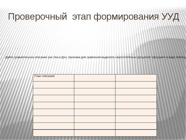 Проверочный этап формирования УУД Дайте сравнительное описание рек Ока и Дон,...