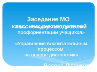 Заседание МО классных руководителей Тема: «Социальные проблемы профориентации
