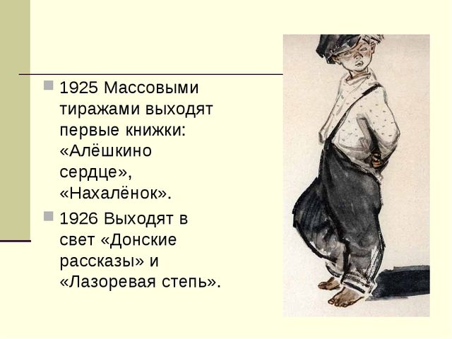 1925 Массовыми тиражами выходят первые книжки: «Алёшкино сердце», «Нахалёнок»...