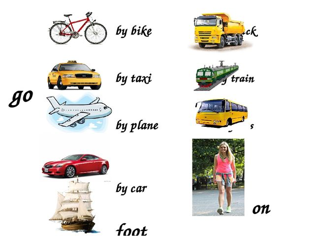 go by bike by truck by taxi by train by plane by bus by car on foot by ship