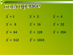 2 = 1 2 = 2 2 = 4 = 8 2 = 16 2 = 32 2 = 64 2 = 128 2 = 256 2 = 512 2 = 1024 0