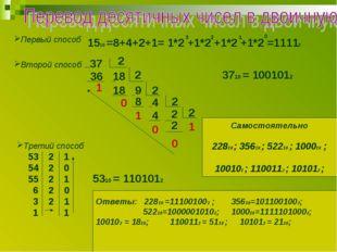 Первый способ 1510 =8+4+2+1= 1*2 +1*2 +1*2 +1*2 =11112 3 2 1 0 Второй способ