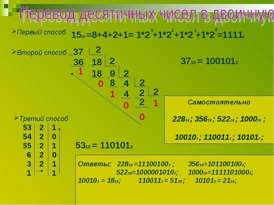 Первый способ 1510 =8+4+2+1= 1*2 +1*2 +1*2 +1*2 =11112 3 2 1 0 Второй способ...