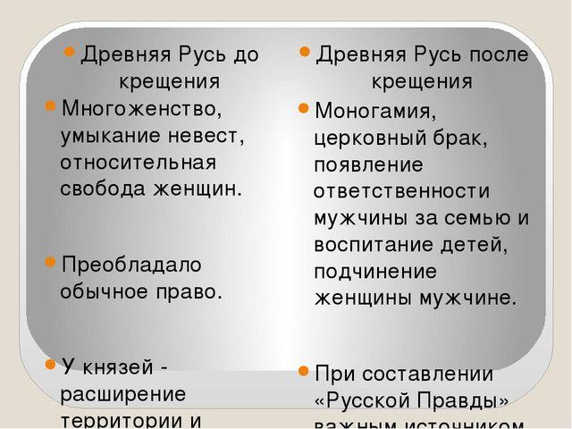 Древняя Русь до крещения Древняя Русь после крещения Многоженство, умыкание...