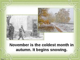 November is the coldest month in autumn. It begins snowing. © Фокина Лидия Пе