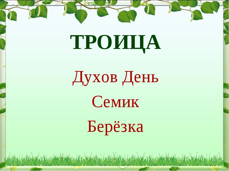 ТРОИЦА Духов День Семик Берёзка