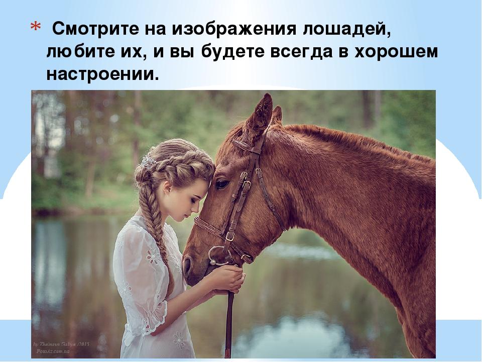 Смотрите на изображения лошадей, любите их, и вы будете всегда в хорошем нас...