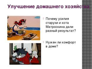 Улучшение домашнего хозяйства Почему усилия старухи и кота Матроскина дали ра